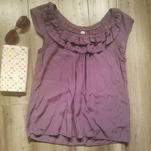Anthro Edme Esyllte Purple Ruffle Peasant Blouse 6